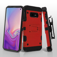 3-IN-1 Military Grade Certified Storm Tank Hybrid Case with Holster and Screen Protector for Samsung Galaxy S10e - Red