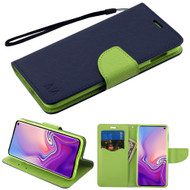Diary Leather Wallet Stand Case for Samsung Galaxy S10e - Navy Blue Green