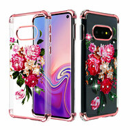 Klarion Crystal Clear Diamond Tough Case for Samsung Galaxy S10e - Pink Peony