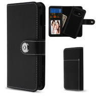 2-IN-1 Premium Leather Wallet with Removable Magnetic Case for Samsung Galaxy S10e - Black