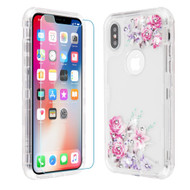 Military Grade Certified TUFF Lucid Plus Hybrid Case with Tempered Glass Screen Protector for iPhone XS / X - Romantic Love Flowers