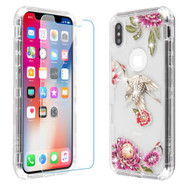 Military Grade Certified TUFF Lucid Plus Hybrid Case with Tempered Glass Screen Protector for iPhone XS / X - Crane