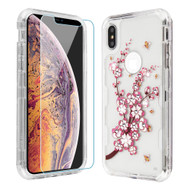 Military Grade Certified TUFF Lucid Plus Hybrid Case with Tempered Glass Screen Protector for iPhone XS Max - Spring Flower