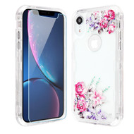 Military Grade Certified TUFF Lucid Plus Hybrid Armor Case with Tempered Glass Screen Protector for iPhone XR - Romantic Love Flowers