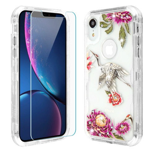 Military Grade Certified TUFF Lucid Plus Hybrid Armor Case with Tempered Glass Screen Protector for iPhone XR - Crane