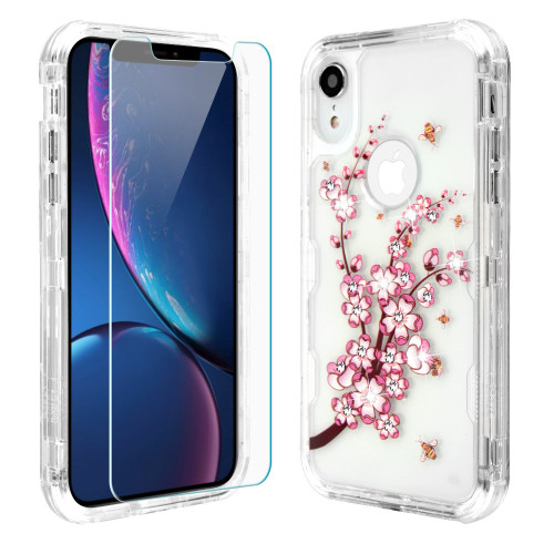 Military Grade Certified TUFF Lucid Plus Hybrid Armor Case with Tempered Glass Screen Protector for iPhone XR - Spring Flower