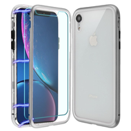 Magnetic Adsorption Hybrid Bumper Case with Front and Back Tempered Glass Protector for iPhone XR - Silver