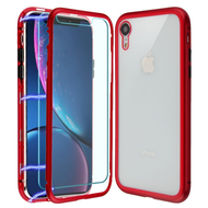 Magnetic Adsorption Hybrid Bumper Case with Front and Back Tempered Glass Protector for iPhone XR - Red