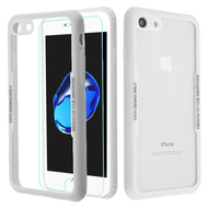 Reflex Hybrid Case with Front and Back Tempered Glass Protector for iPhone 8 / 7 - White