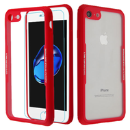 Reflex Hybrid Case with Front and Back Tempered Glass Protector for iPhone 8 / 7 - Red