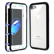 Magnetic Adsorption Hybrid Bumper Case with Front and Back Tempered Glass Protector for iPhone 8 / 7 - Black