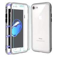 Magnetic Adsorption Hybrid Bumper Case with Front and Back Tempered Glass Protector for iPhone 8 / 7 - Silver