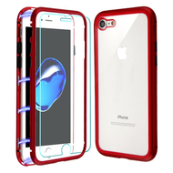Magnetic Adsorption Hybrid Bumper Case with Front and Back Tempered Glass Protector for iPhone 8 / 7 - Red