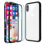 Magnetic Adsorption Hybrid Bumper Case with Front and Back Tempered Glass Protector for iPhone XS / X - Black