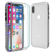 Magnetic Adsorption Hybrid Bumper Case with Front and Back Tempered Glass Protector for iPhone XS / X - Silver