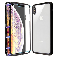 Magnetic Adsorption Hybrid Bumper Case with Front and Back Tempered Glass Protector for iPhone XS Max - Black