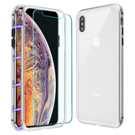 Magnetic Adsorption Hybrid Bumper Case with Front and Back Tempered Glass Protector for iPhone XS Max - Silver