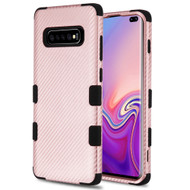 Military Grade Certified TUFF Fuse Hybrid Armor Case for Samsung Galaxy S10 Plus - Carbon Fiber Rose Gold