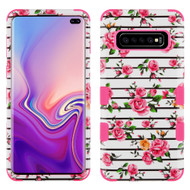 Military Grade Certified TUFF Hybrid Armor Case for Samsung Galaxy S10 Plus - Pink Fresh Rose
