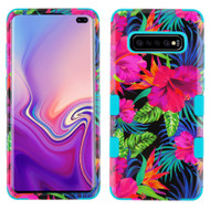 Military Grade Certified TUFF Hybrid Armor Case for Samsung Galaxy S10 Plus - Electric Hibiscus