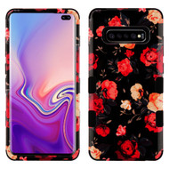 Military Grade Certified TUFF Hybrid Armor Case for Samsung Galaxy S10 Plus - Red and White Roses