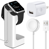 Magnetic Charger Cable with Charging Stand and USB Power Adapter Bundle for Apple Watch - White