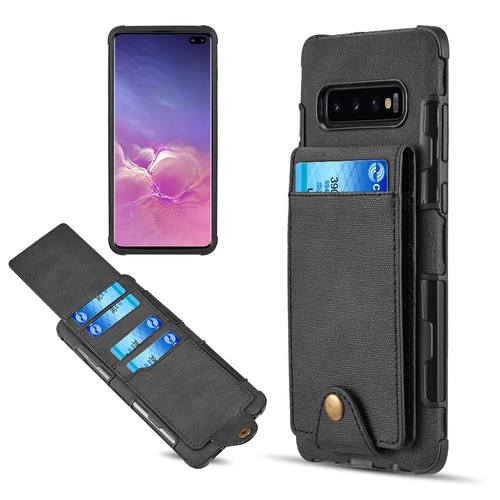 Saffiano Scratchproof Leather Wallet Card Case for Samsung Galaxy S10 Plus - Black