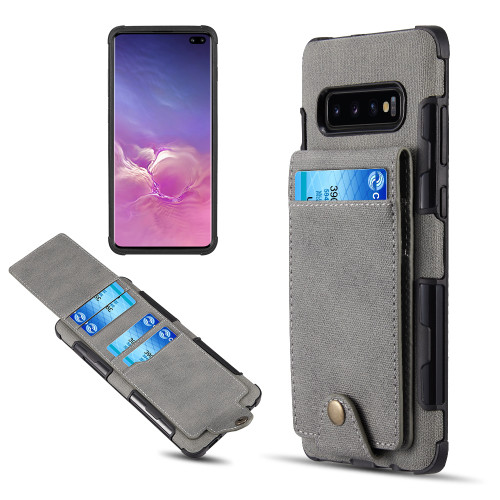 Saffiano Scratchproof Leather Wallet Card Case for Samsung Galaxy S10 Plus - Grey