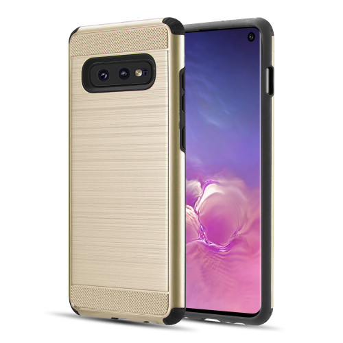Brushed Texture Armor Anti Shock Hybrid Case for Samsung Galaxy S10e - Gold