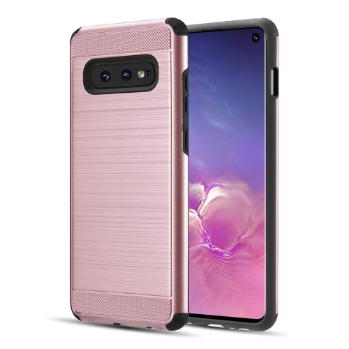 Brushed Texture Armor Anti Shock Hybrid Case for Samsung Galaxy S10e - Rose Gold