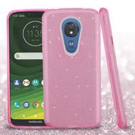 Full Glitter Hybrid Protective Case for Motorola Moto G7 Power - Pink