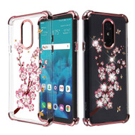 Klarion Crystal Clear Diamond Tough Case for LG Stylo 4 / Stylo 4 Plus - Spring Flowers