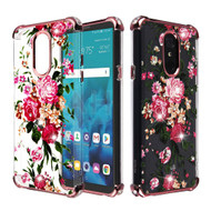 Klarion Crystal Clear Diamond Tough Case for LG Stylo 4 / Stylo 4 Plus - Pink Peony