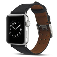 Genuine Patina Leather Strap Watch Band for Apple Watch 40mm / 38mm - Black
