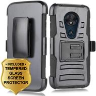 Advanced Armor Hybrid Case + Holster + Tempered Glass Screen Protector for Motorola Moto G7 Power / G7 Supra - Black