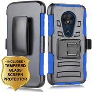 Advanced Armor Hybrid Case + Holster + Tempered Glass Screen Protector for Motorola Moto G7 Power / G7 Supra - Blue