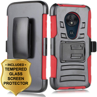 Advanced Armor Hybrid Case + Holster + Tempered Glass Screen Protector for Motorola Moto G7 Power / G7 Supra - Red