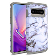Hybrid Multi-Layer Armor Case for Samsung Galaxy S10 Plus - Marble White
