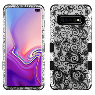 Military Grade Certified TUFF Hybrid Armor Case for Samsung Galaxy S10 Plus - Four Leaves Clover Black