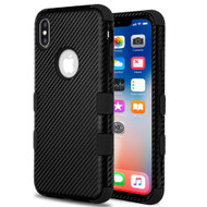Military Grade Certified TUFF Fuse Hybrid Armor Case for iPhone XS / X - Carbon Fiber Black