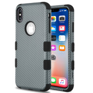 Military Grade Certified TUFF Fuse Hybrid Armor Case for iPhone XS / X - Carbon Fiber Dark Grey