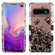 Military Grade Certified TUFF Hybrid Armor Case for Samsung Galaxy S10 Plus - Lace Flower Rose Gold