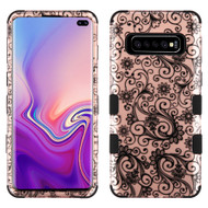 Military Grade Certified TUFF Hybrid Armor Case for Samsung Galaxy S10 Plus - Four Leaves Clover Rose Gold