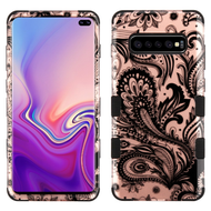 Military Grade Certified TUFF Hybrid Armor Case for Samsung Galaxy S10 Plus - Phoenix Flower Rose Gold