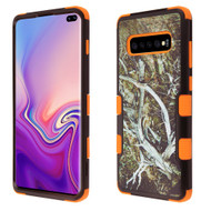 Military Grade Certified TUFF Hybrid Armor Case for Samsung Galaxy S10 Plus - Tree Camouflage Orange 023