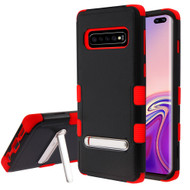 Military Grade Certified TUFF Hybrid Armor Case with Stand for Samsung Galaxy S10 Plus - Black Red