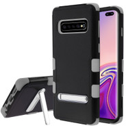 Military Grade Certified TUFF Hybrid Armor Case with Stand for Samsung Galaxy S10 Plus - Black Grey