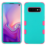 Military Grade Certified TUFF Hybrid Armor Case for Samsung Galaxy S10 - Teal Green Electric Pink 048