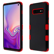 Military Grade Certified TUFF Hybrid Armor Case for Samsung Galaxy S10 - Black Red