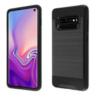 Brushed Coated Hybrid Armor Case for Samsung Galaxy S10 - Black